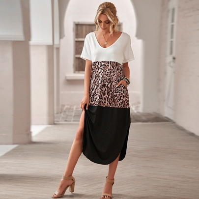 Leopard Print Stitching Short Sleeve Split T-Shirt Dress NSMAN51376