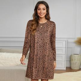Leopard Print Three-quarter Sleeves Round Neck Short Dress NSMAN51394