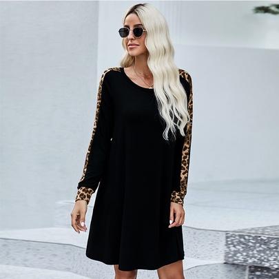 Leopard Pattern Long-sleeved Round Neck Knitted Dress NSMAN51396