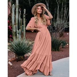 V-neck Short-sleeved Solid Color Long Dress NSMAN51397