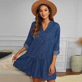 V-neck Pleated Long-sleeved Loose High-waist Dress NSMAN51399