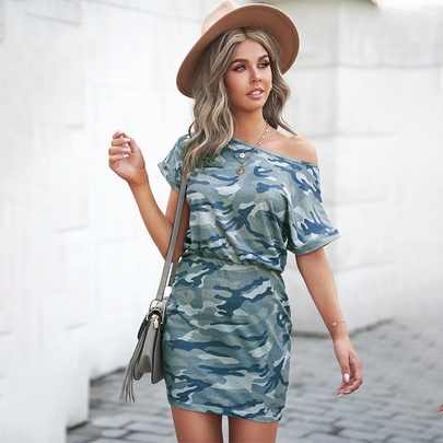 Camouflage Pattern Round Neck Short-sleeved Short Dress NSMAN51400