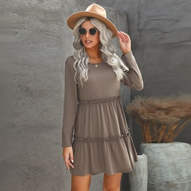 Frill Trim V-neck Long-sleeved Dress NSMAN51419