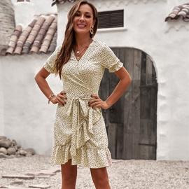 Dot Ruffled Hem Chiffon Dress NSMAN51422