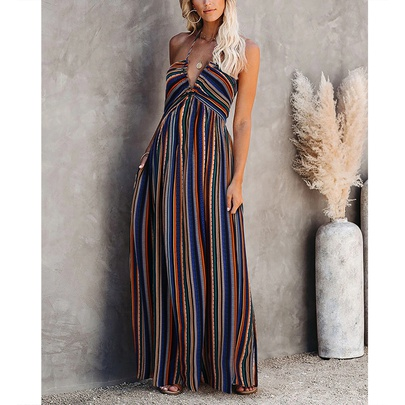 Printed Suspenders V-neck High Waist Slim Dress NSMAN51426