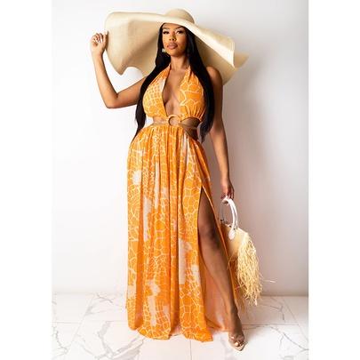 Sleeveless Halter V-neck Printed Dress NSMAN51438