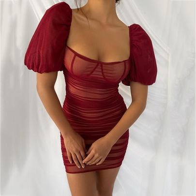 Puff Sleeves Mesh Pleated Hip Short Skirt Dress NSMI51516