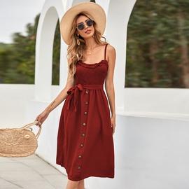 Polka Dot Ruffled Lace Button Suspender Dress NSAL51519