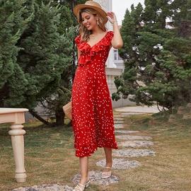 Dot Printed High Waist Red Ruffled Slim V-neck Sleeveless Dress NSDF51524