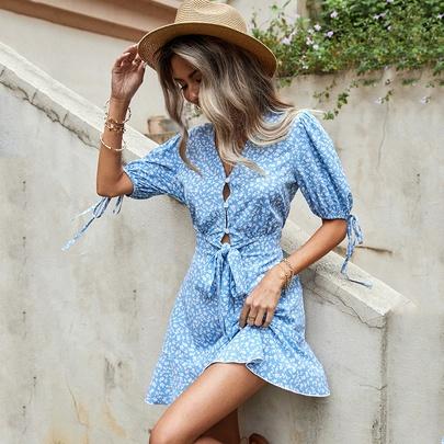 V-neck Button Bow Floral Blue Dress NSDF51529