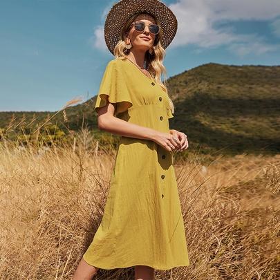 V-neck Lotus Leaf Sleeve Cotton Yellow Long Dress NSDF51533