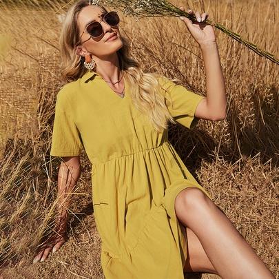 Slim V-neck Cotton Yellow Dress NSDF51534