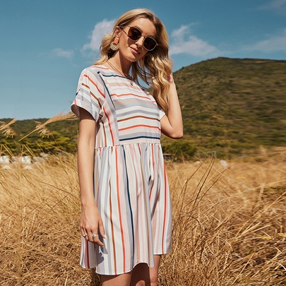 Striped Stitching Loose Short-sleeved Mid-length Round Neck Dress NSDF51537