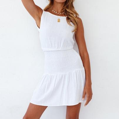 Solid Color Mid-waist V-neck Tight White Dress NSJR51549