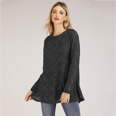 Plus Size Petal Collar Long-sleeved Lace Tops NSJR51555