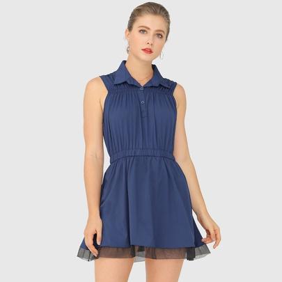 Lapel Sleeveless Dark Blue Dress NSJR51560