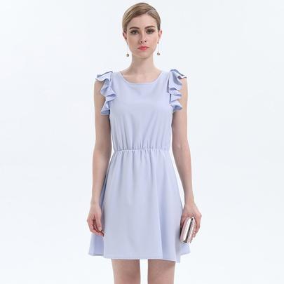 Chiffon Frill Sleeves Solid Color Dress NSJR51564