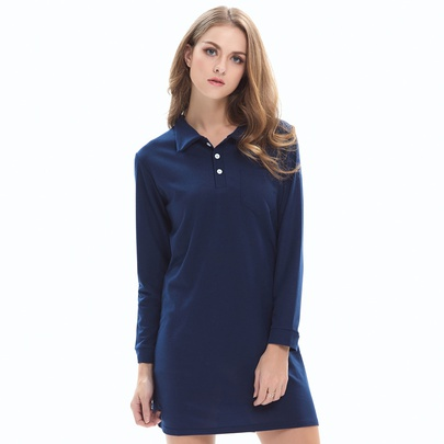 Casual Solid Color Lapel Long-sleeved Dress NSJR51570
