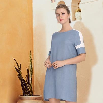 Cotton Blue Stitching Short-sleeved Dress NSJR51572