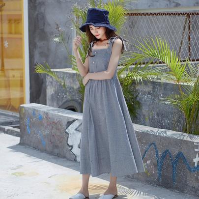 Single-breasted Suspender Swing Dress  NSJR51574