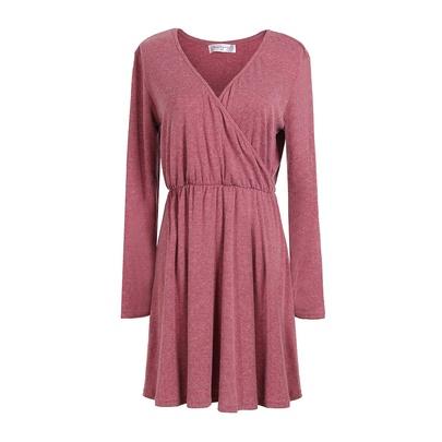 Slim V-neck Long-sleeved Dress NSJR51576