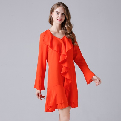 Frill Collar Slim Chiffon Long-sleeved Dress NSJR51582