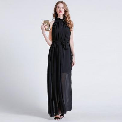 Collar Chiffon Belt Waist A-line Slim Sleeveless Long Dress NSJR51585