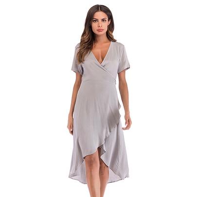 Pure Color Slim V-neck Irregular Short Sleeve Dress NSJR51586