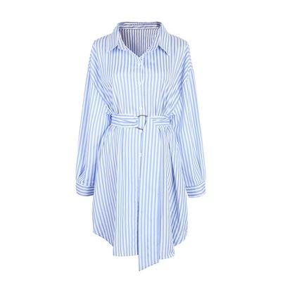 Blue Striped Shirt Long-sleeved Dress NSJR51588
