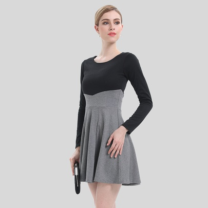 Retro Stitching Slim Long-sleeved Dress NSJR51590
