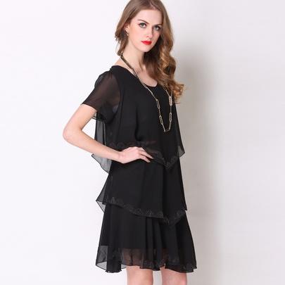 Fashion Loose Diamond Short-sleeved Dress NSJR51589