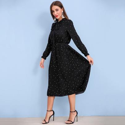 Plus Size Pleated Polka Dot Sweet Long-sleeved Long Dress NSJR51592