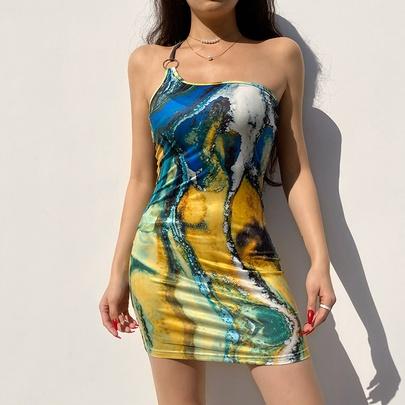 Retro One-shoulder Print Dress NSRUI51603