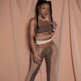 Mesh See-through Tube Top Color Matching Hollow Open Umbilical Bandage Split Jumpsuit NSRUI51642