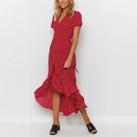Casual Printing V-neck Short-sleeved Lace Chiffon Dress NSGE51661