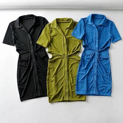 Lapel Slim Slim Short Short Sleeve Dress NSHS51690