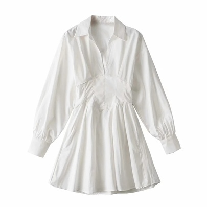 Lace-up Pleated Shirt Dress NSAC51732