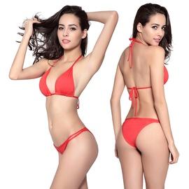 Solid Color Halter Tie Back Bikini Swimsuit Set NSLUT53843