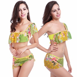 Fashion Single Shoulder Ruffle Skirt Bikini Swimsuit Set NSLUT53841
