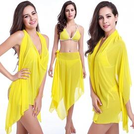 Fashion Solid Color Three Piece Bikini Swimsuit Set NSLUT53839