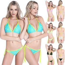 Bright Color Lace-up Bikini Swimsuit Set NSLUT53828