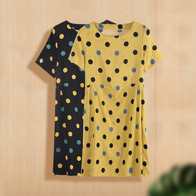 Polka Dot Printing Short-sleeved Cotton Loose Dress  NSJR51561