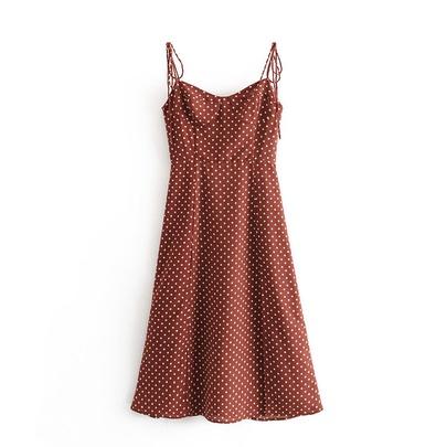 Retro Polka Dot High Waistside Slit Hem Lace Dress NSAM51763
