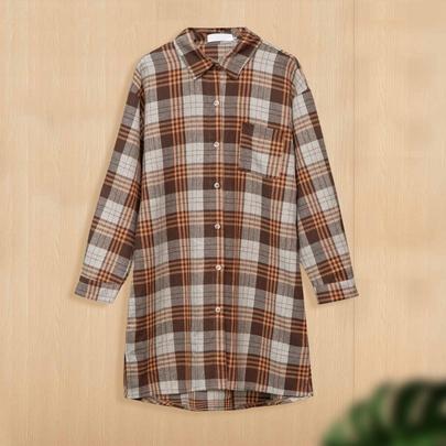 Plus Size Loose Lapel Long-sleeved Shirt Dress NSJR51567