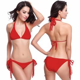 Fashion Long Straps Solid Color Bikini Swimsuit Set NSLUT53826