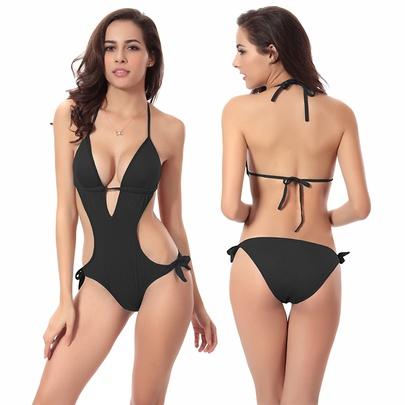 Fashion Deep V Slim One-piece Swimsuit NSLUT53823