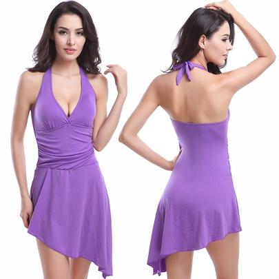 Fashion Solid Color Ruched Halter Swim Dress NSLUT53822