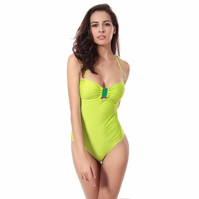 Crystal Decor Tie Back Halter One Piece Swimsuit NSLUT53821