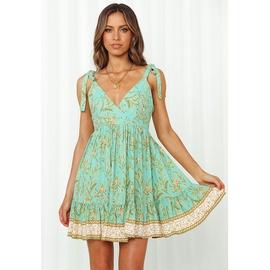 Fashion Print Sling Lace-up V-neck High Waist Short Dress NSJIM53864