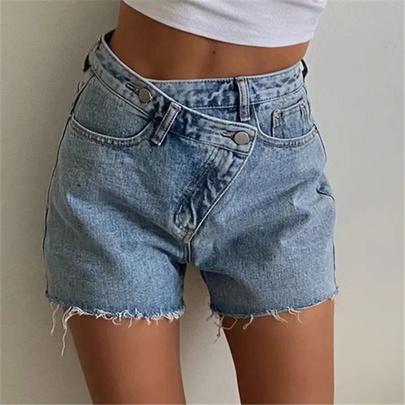 Cross-waist Loose Wide-leg Denim Shorts NSAC51790